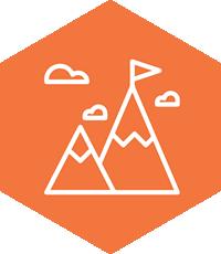 Orange hexagon with mountains