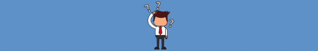 cartoon of man scratching his head with question marks