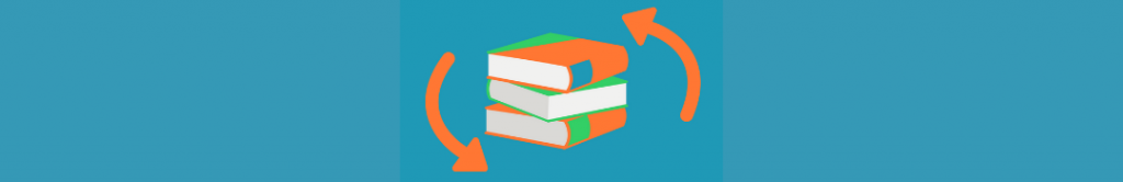 circles around books icon, suggesting an ongoing story