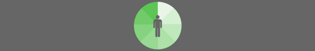 icon of a person with a multi-colored green circle behind it