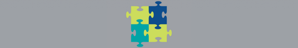 Image of puzzle pieces fitting together on a grey background